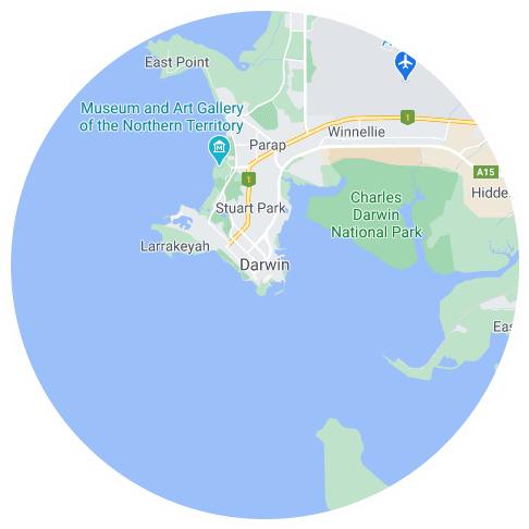 Map of Darwin, NT