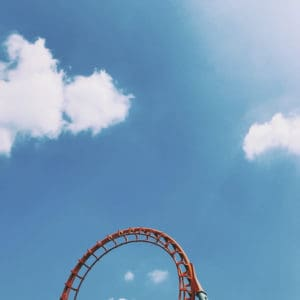 Photo of the top of a roller coaster. Dreamworld has many fun rides to go on!