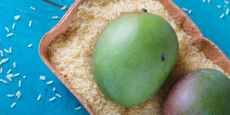 mangoes in uncooked rice kernels